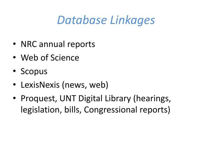 Database Linkages