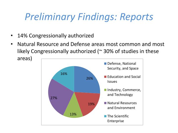 Preliminary Findings: Reports