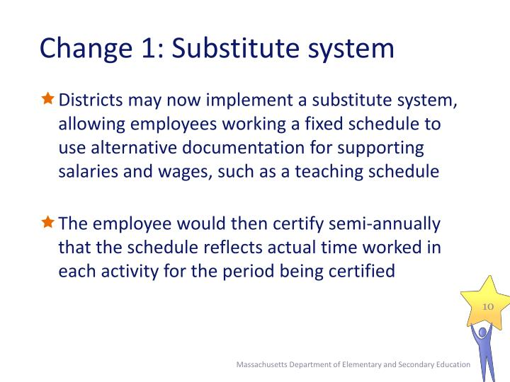 Change 1: Substitute system