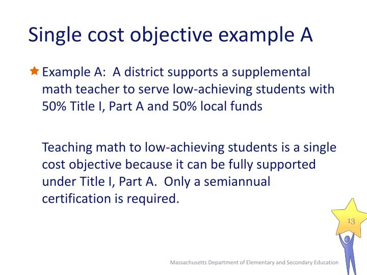 Single cost objective example A