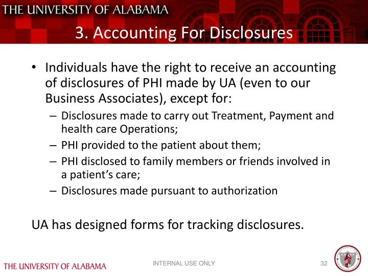 3. Accounting For Disclosures