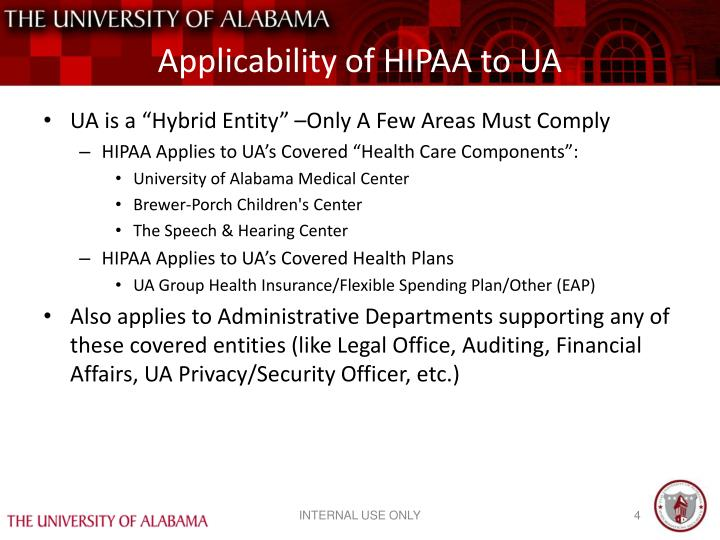 Applicability of HIPAA to UA