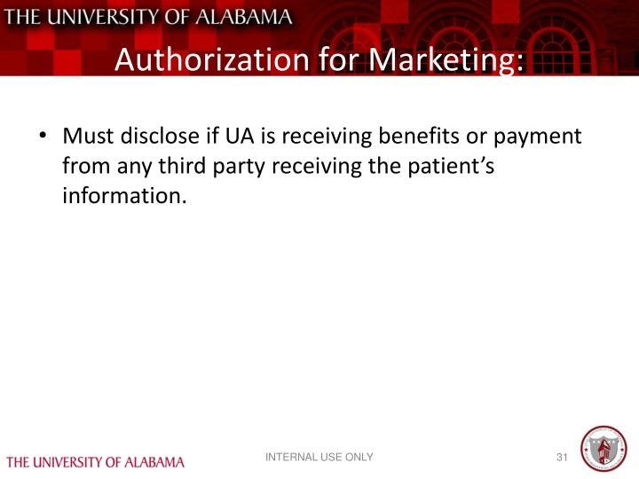Authorization for Marketing: