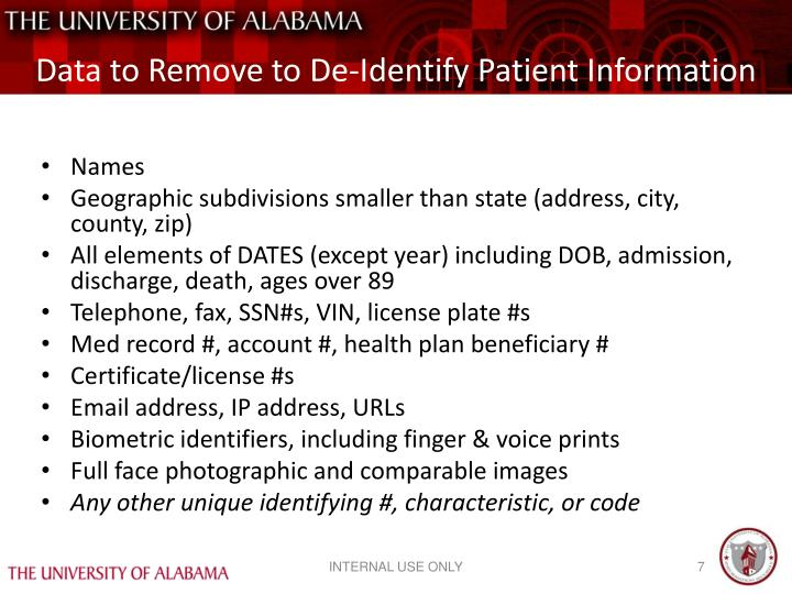 Data to Remove to De-Identify Patient Information