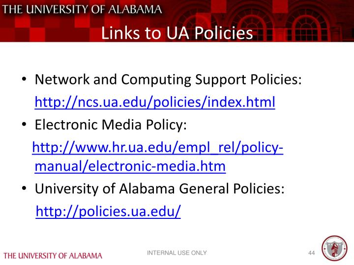 Links to UA Policies