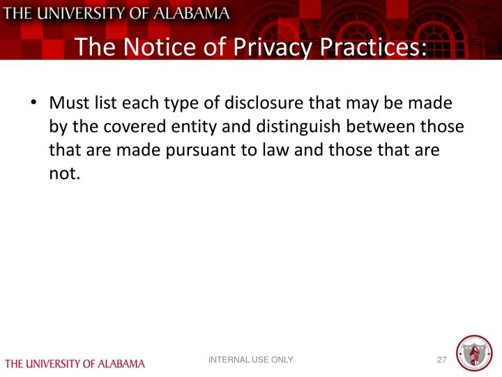 The Notice of Privacy Practices: