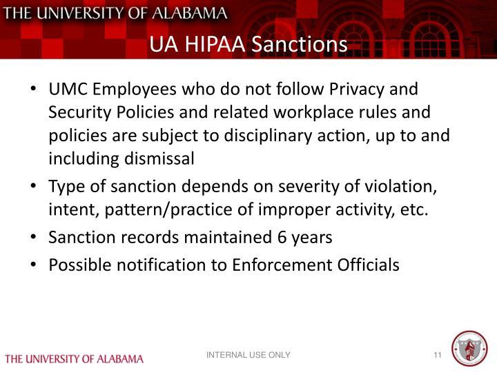 UA HIPAA Sanctions