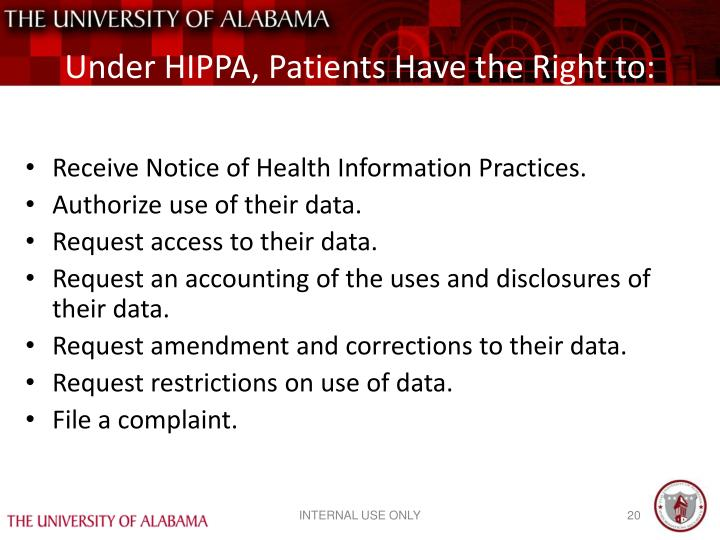 Under HIPPA, Patients Have the Right to:
