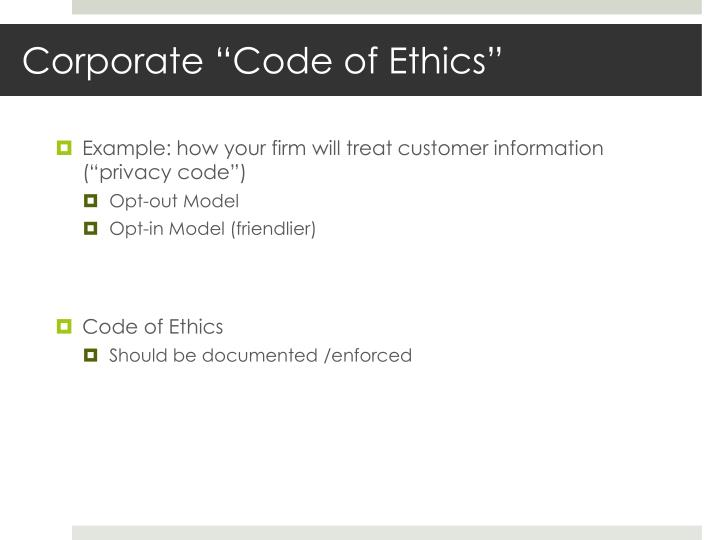 "Corporate ""Code of Ethics"""