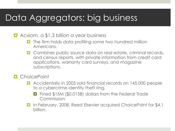 Data Aggregators: big business