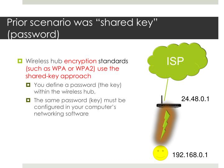 "Prior scenario was ""shared key"" (password)"
