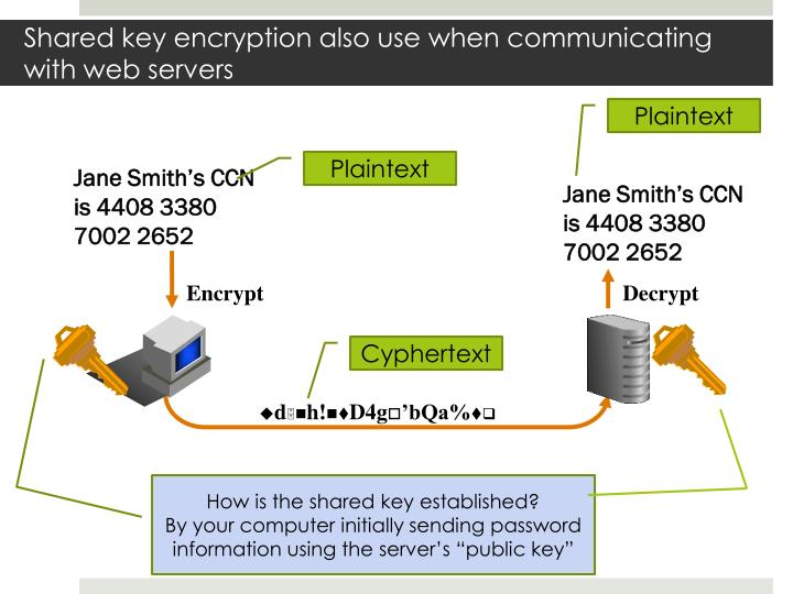 Shared key encryption also use when communicating with web servers