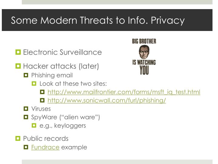 Some Modern Threats to Info. Privacy