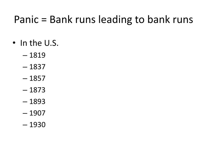 Panic = Bank runs leading to bank runs