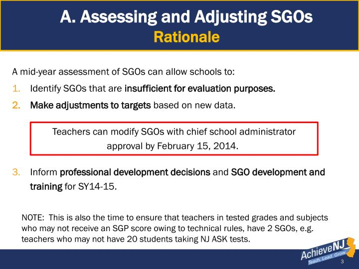 A. Assessing and Adjusting SGOs