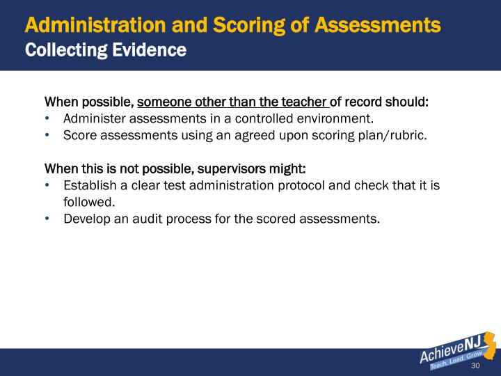 Administration and Scoring of Assessments