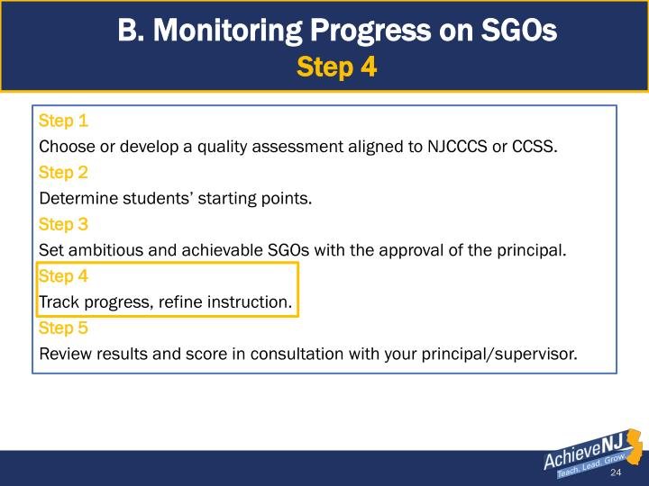 B. Monitoring Progress on SGOs