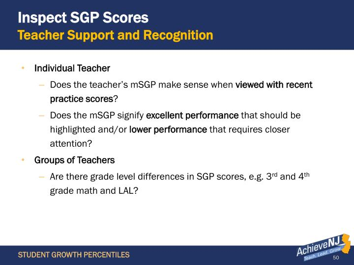 Inspect SGP Scores