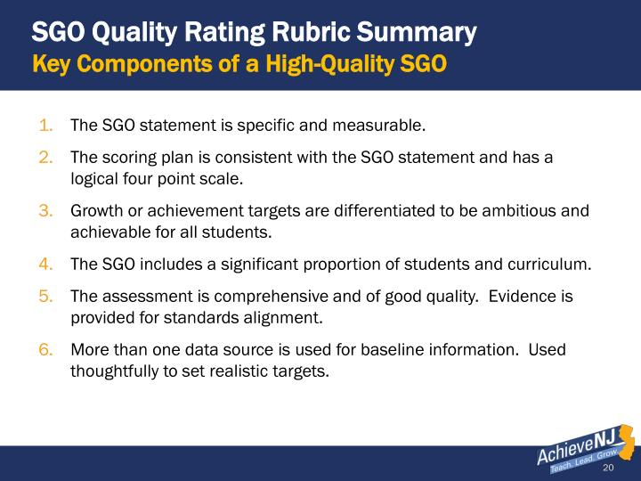 SGO Quality Rating Rubric Summary