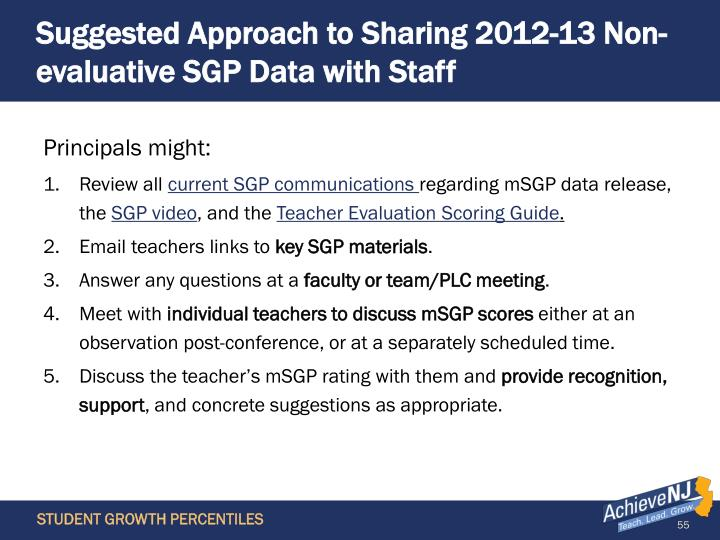 Suggested Approach to Sharing 2012-13 Non-evaluative SGP Data with Staff