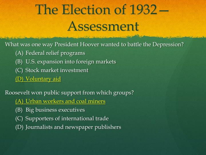 The Election of 1932—Assessment