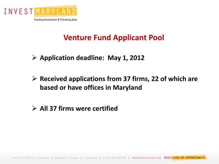 Venture Fund Applicant Pool