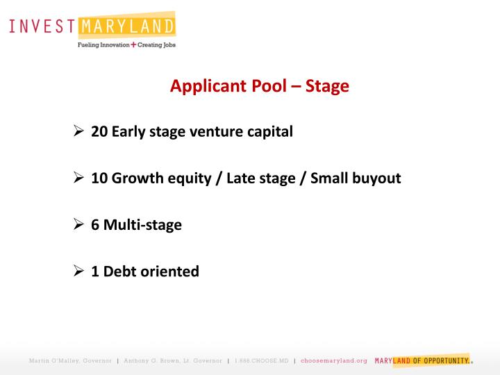 Applicant Pool – Stage