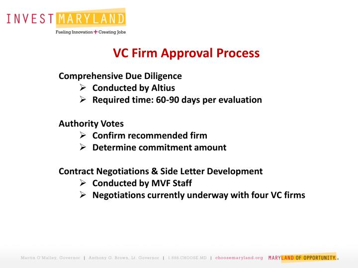VC Firm Approval Process
