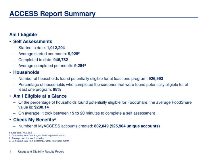 Access report summary