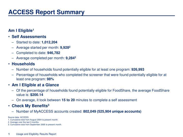 ACCESS Report Summary