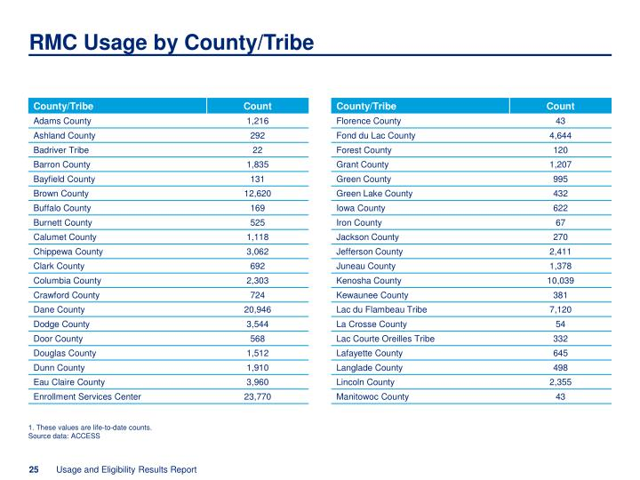 RMC Usage by County/Tribe