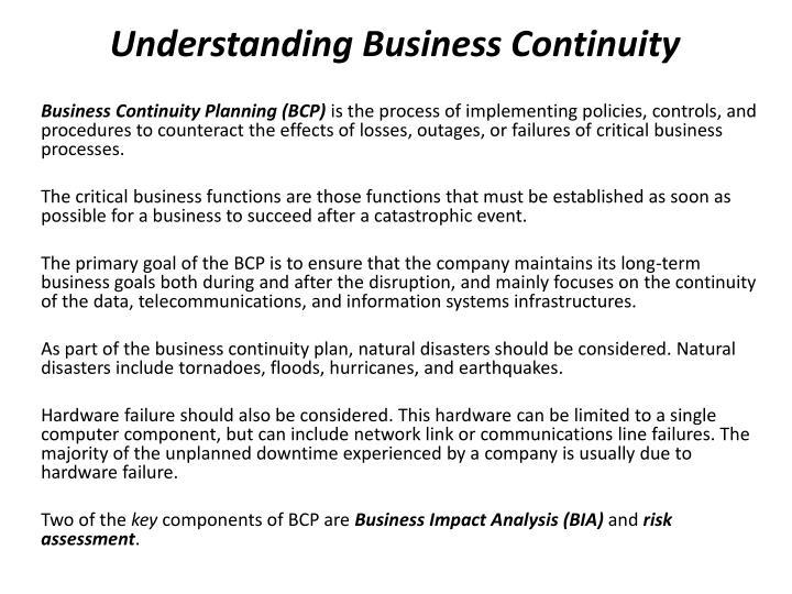 Understanding Business Continuity