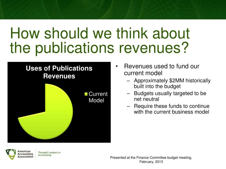 How should we think about the publications revenues?