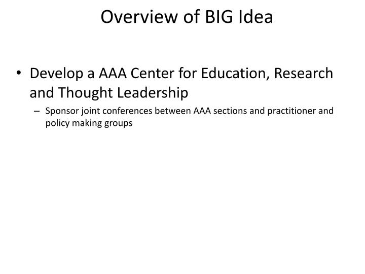 Overview of BIG Idea