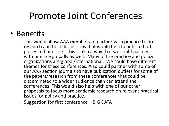 Promote Joint Conferences