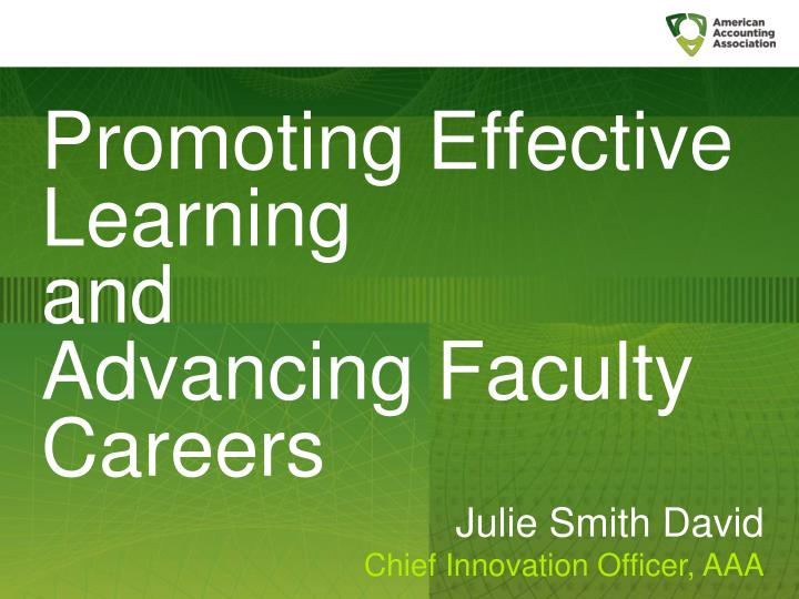 Promoting Effective Learning