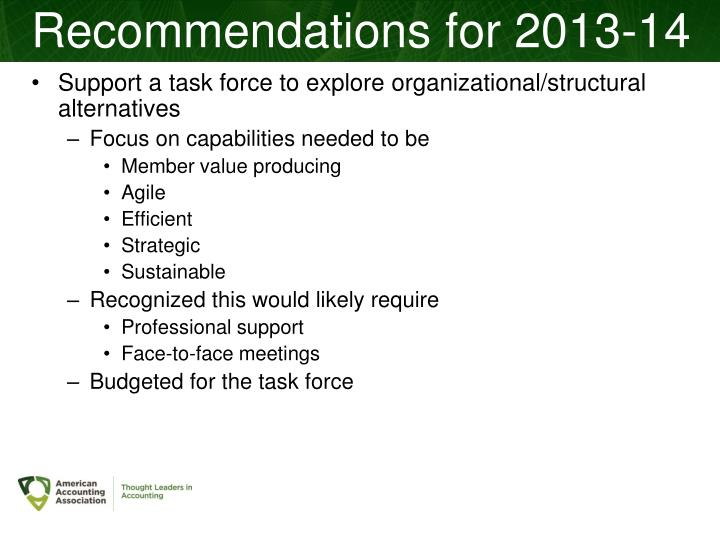 Recommendations for 2013-14