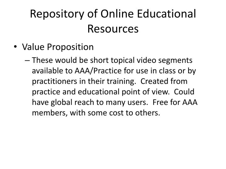 Repository of Online Educational Resources