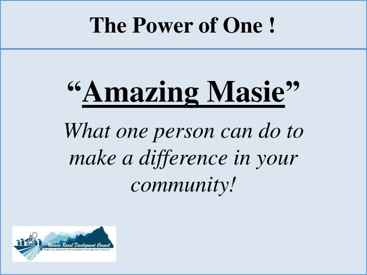 The Power of One !