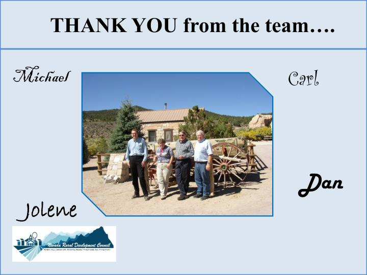 THANK YOU from the team….
