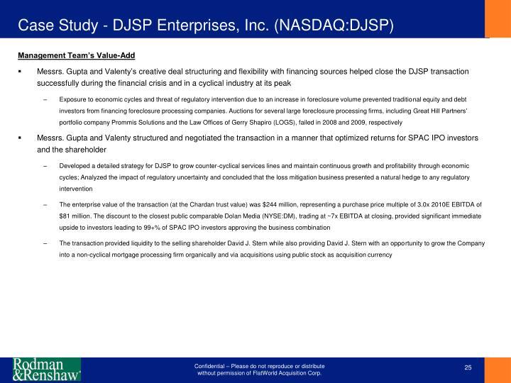 Case Study - DJSP Enterprises, Inc. (NASDAQ:DJSP)
