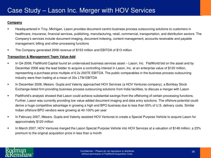 Case Study – Lason Inc. Merger with HOV Services
