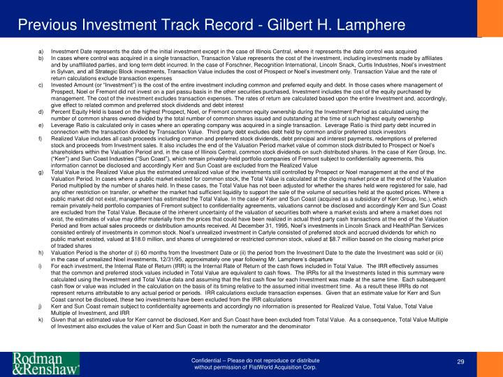 Previous Investment Track Record - Gilbert H. Lamphere