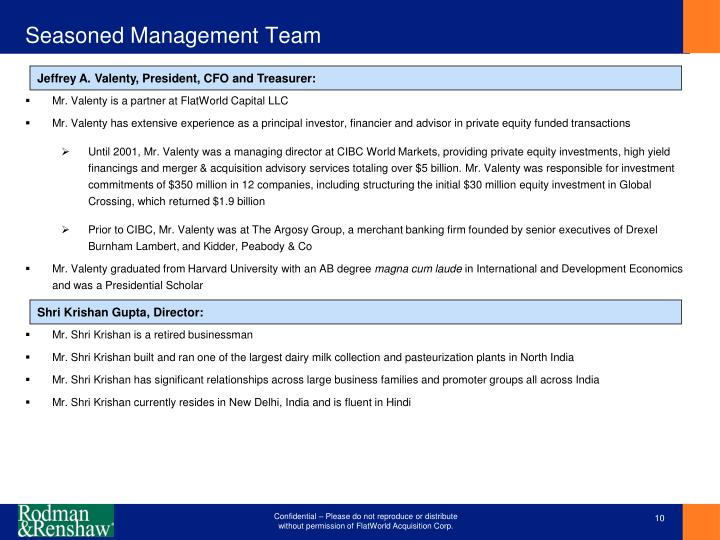 Seasoned Management Team