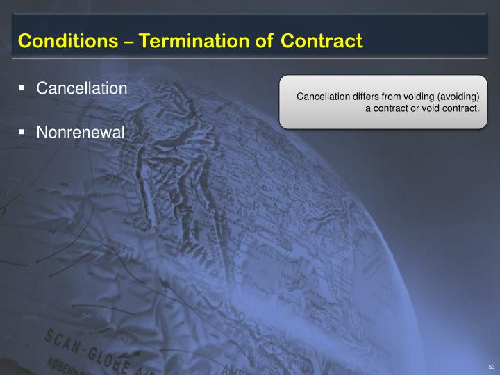Conditions – Termination of Contract