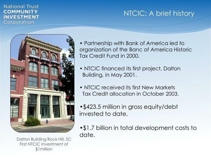 NTCIC: A brief history