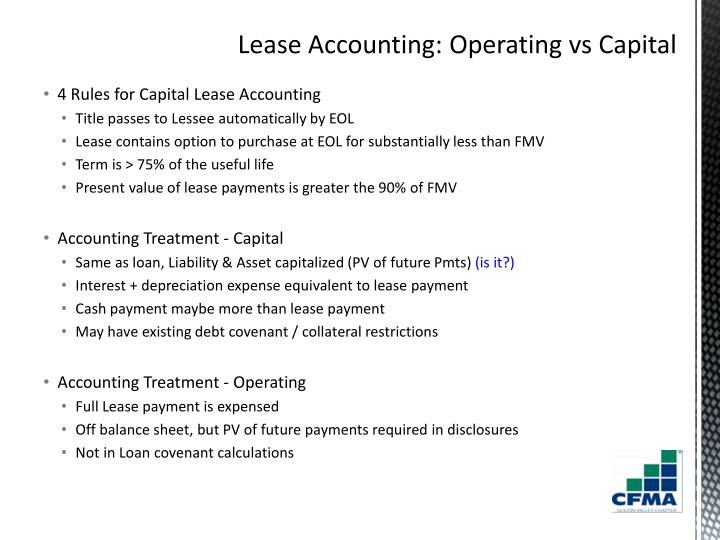 4 Rules for Capital Lease Accounting