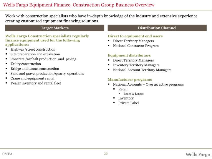 Wells Fargo Equipment Finance, Construction Group Business Overview