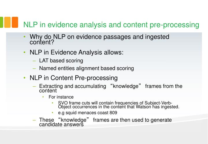 NLP in evidence analysis and content pre-processing