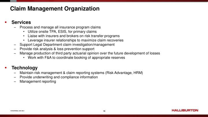 Claim Management Organization